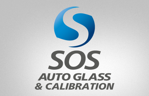 SOS logo on glass
