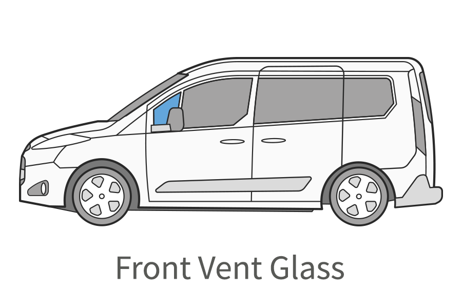 Front vent glass