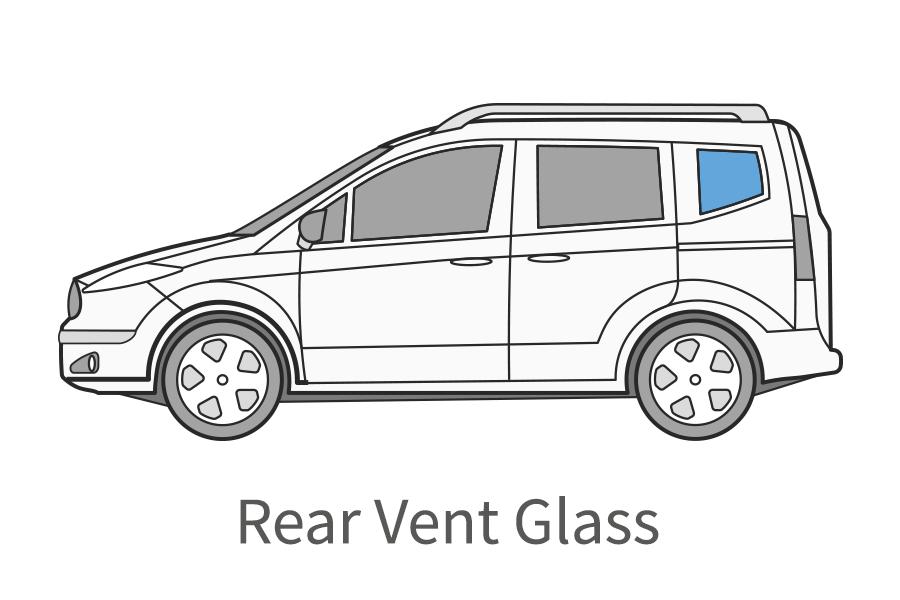 Rear vent glass